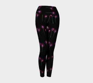 Pink Blossoms on Black Yoga Leggings preview