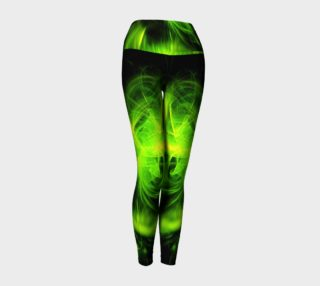 Green Flame Fractal yoga leggings by Tracey Lee Art Designs preview