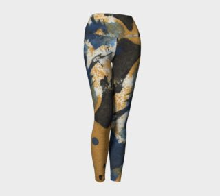 ocher and blue abstract yoga leggings preview