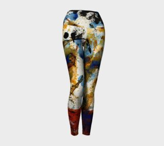 ocher blue and rust abstract yoga leggings preview