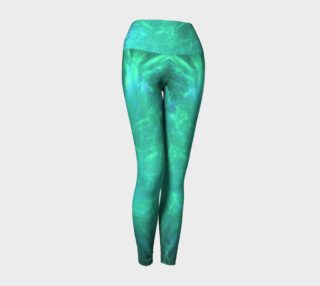 Aqua explosion yoga leggings by Tracey Lee Art Designs preview