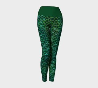 Aperçu de Green Glitter Scale Mermaid Yoga Pants