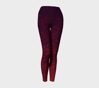 Glitterfish Glam Red/Purple Ombre Mermaid Scale Yoga Pants preview
