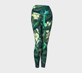 Aperçu de yoga leggings green flowers