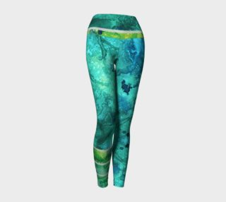 Green Blue Watercolor Ocean Yoga Leggings preview