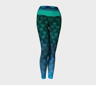 Watercolor Waves Ocean Mermaid Yoga Pants 2 preview