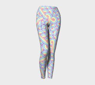 Aperçu de Rainbow and white swirls doodles Yoga Leggings