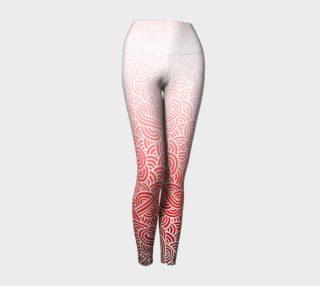 Aperçu de Ombre red and white swirls doodles Yoga Leggings