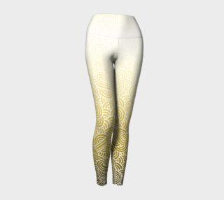 Aperçu de Ombre yellow and white swirls doodles Yoga Leggings