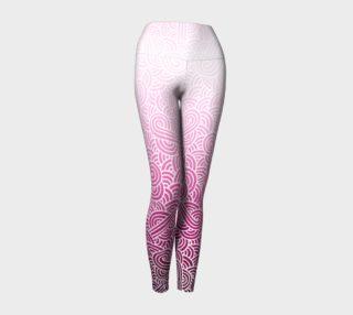 Aperçu de Ombre pink and white swirls doodles Yoga Leggings