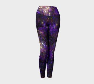 Purple and gold start burst fractal yoga leggings preview