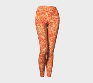 Aperçu de Orange and red swirls doodles Yoga Leggings