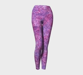 Neon purple and pink swirls doodles Yoga Leggings preview