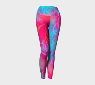 Turquoise - Electric Pink Psychedelic Fractal Leggings preview