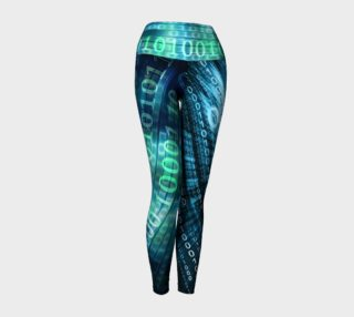 Abstract Green, Teal & Blue Numerical Leggings preview