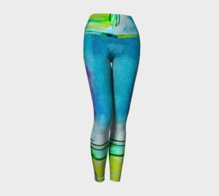 Abstract Watercolor Art Blue & Lime Green Leggings preview