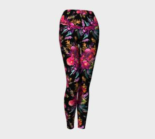 Aperçu de Yoga pants Happy roses on black