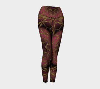 Celtic Dragonfly Infinity Mandala in Gold and Burgundy Yoga Leggings preview