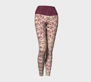 Victorian Brocade Yoga Leggings - In Dark Pink preview