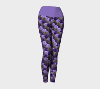 Roses Yoga Leggings with Purple Band preview