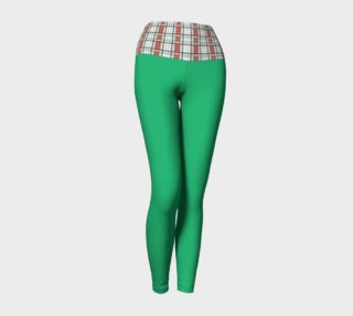 Green Yoga Leggings with Classic Plaid Band preview