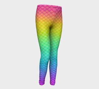 Neon Rainbow Mermaid Youth Leggings preview
