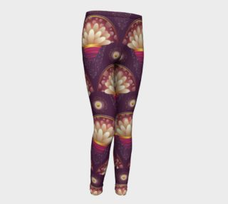 Purple and Beige Scallops Youth Leggings preview