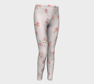 girl leggings pink roses print cute yoga pant leggings for youth  preview