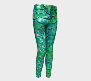 Youth Large-Scale Mermaid Green Leggings preview