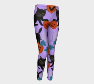Cat and Pumpkin Purple Leggings preview