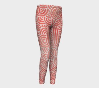 Peach echo and white swirls doodles Youth Leggings preview