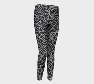 Faux silver and black swirls doodles Youth Leggings preview