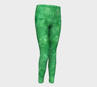 Bright green swirls doodles Youth Leggings preview