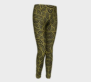 Faux gold and black swirls doodles Youth Leggings preview