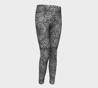 Grey and black swirls doodles Youth Leggings preview
