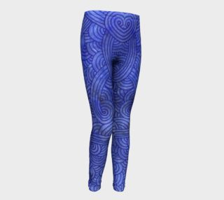 Royal blue swirls doodles Youth Leggings preview