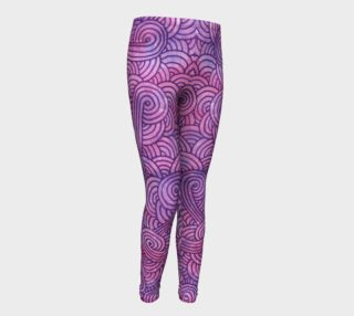 Neon purple and pink swirls doodles Youth Leggings preview