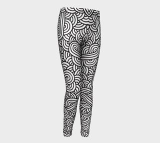 Black and white swirls doodles Youth Leggings preview