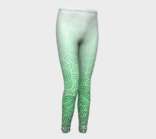 Ombre green and white swirls doodles Youth Leggings aperçu