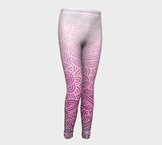 Ombre pink and white swirls doodles Youth Leggings preview