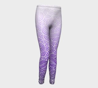 Ombre purple and white swirls doodles Youth Leggings preview