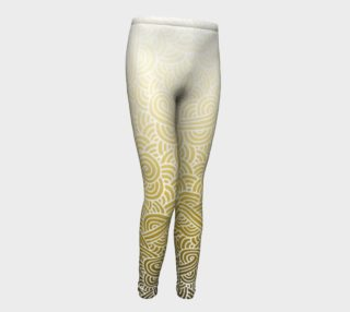 Ombre yellow and white swirls doodles Youth Leggings preview