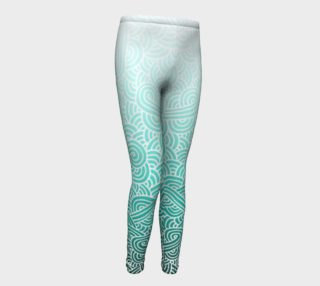 Ombre turquoise blue and white swirls doodles Youth Leggings preview