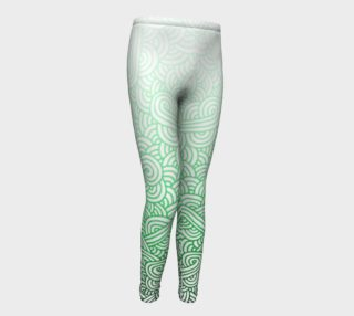 Gradient green and white swirls doodles Youth Leggings preview