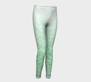 Gradient green and white swirls doodles Youth Leggings aperçu