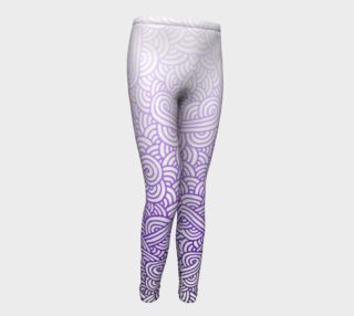 Gradient purple and white swirls doodles Youth Leggings preview