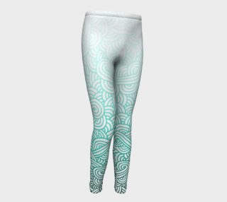 Gradient turquoise blue and white swirls doodles Youth Leggings preview