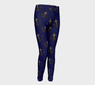 Yellow Gold sparkles Anchor pattern Navy blue preview