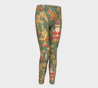 1950 Vintage Gingerbread Christmas Youth Leggings preview