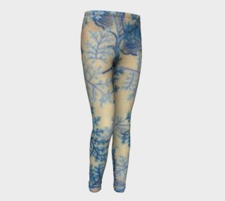 1950s Blue Ferns Fabric Replica Youth Leggings preview